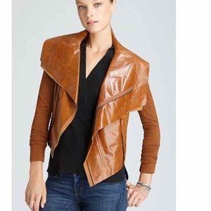 BCBGMAXAZRIA Brown Ana Raw Edge Leather Jacket S